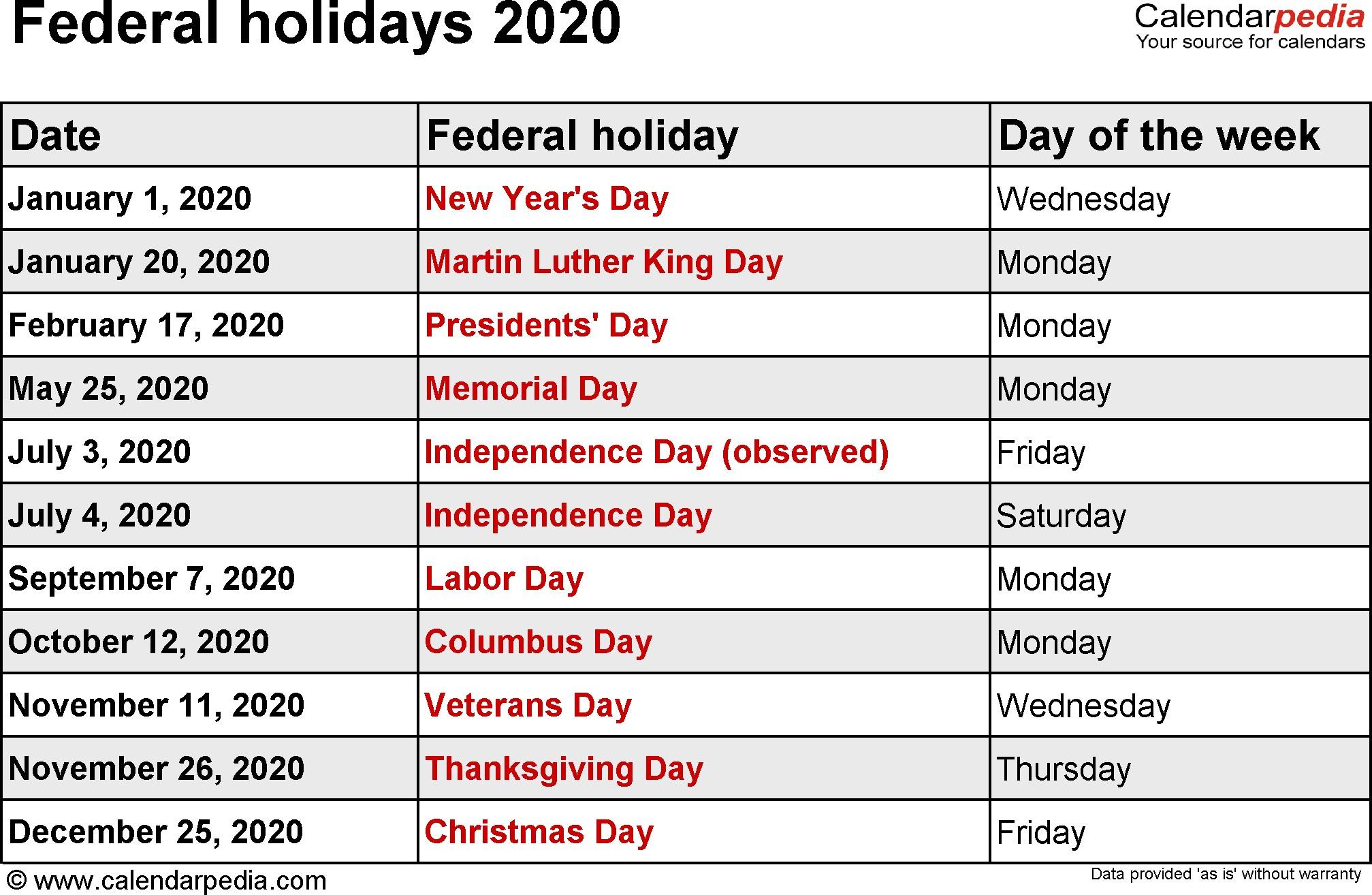 Printable Calendar for 2020 with Holidays Federal Holidays 2020