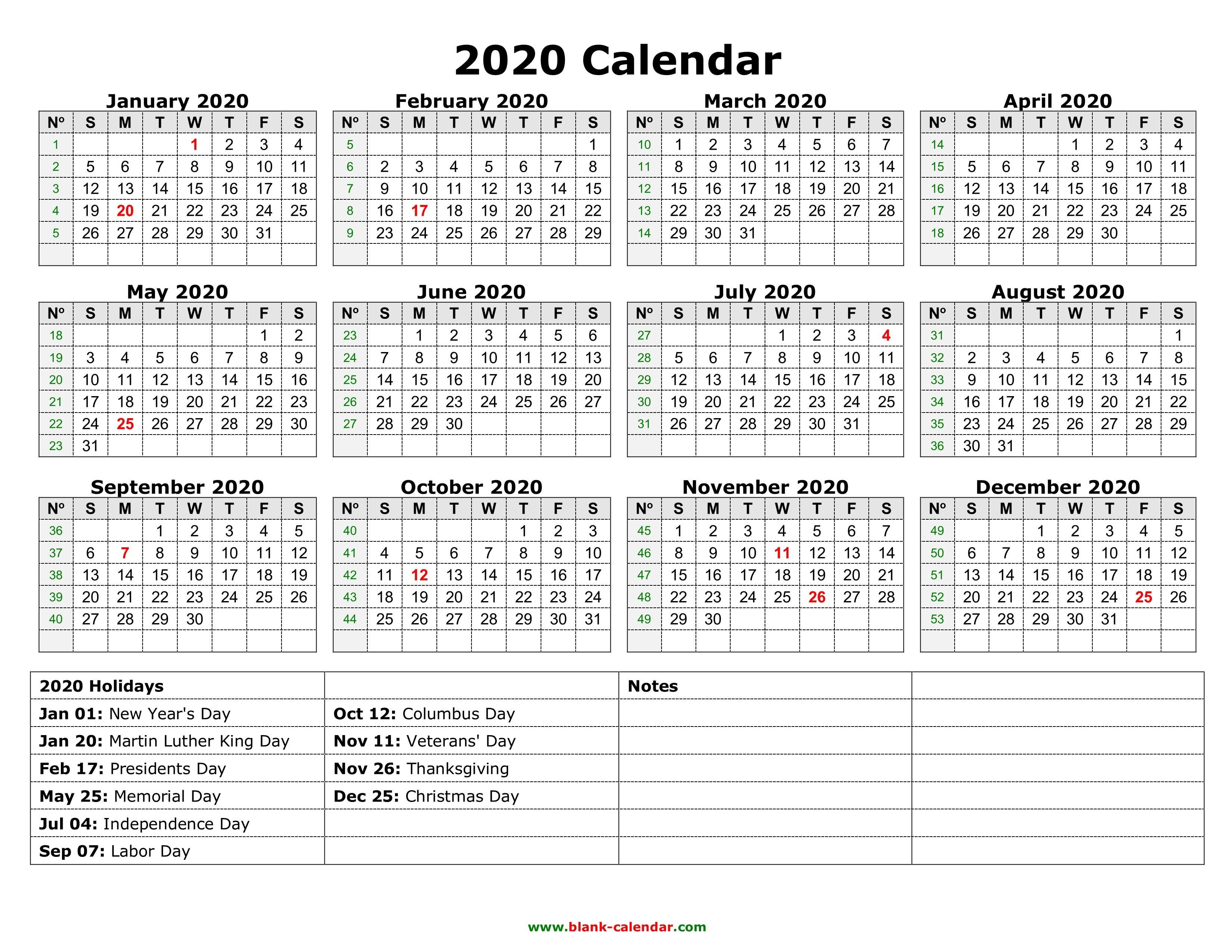 Printable Calendar for 2020 with Holidays Yearly Calendar 2020