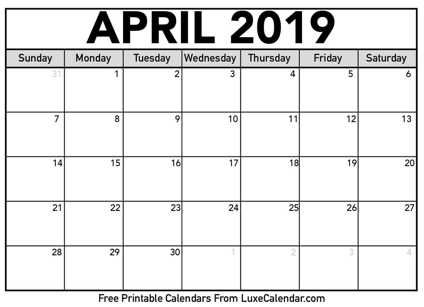 Printable Calendar Free 2019 Blank April 2019 Printable Calendar Luxe Calendar