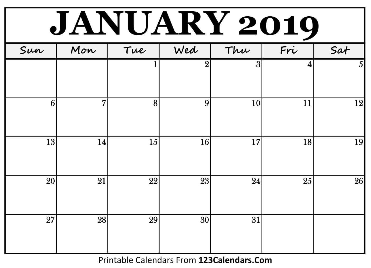 Printable Calendar Jan 2019