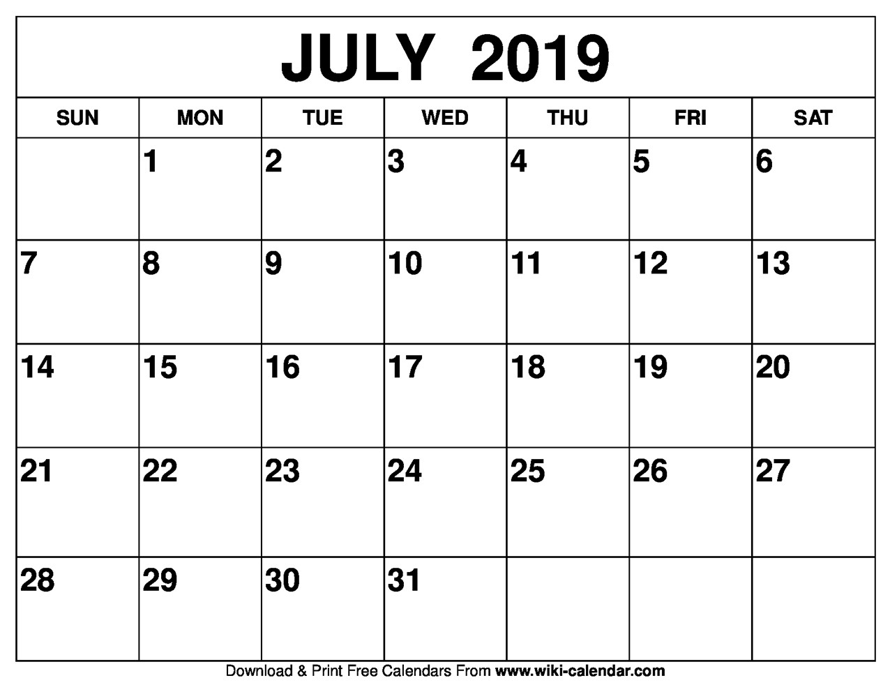Printable Calendar July 2019 Blank July 2019 Calendar Printable
