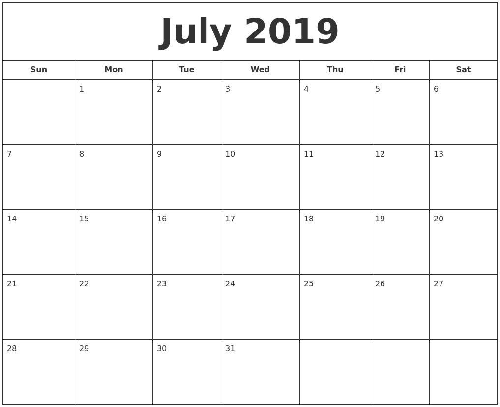 Printable Calendar July 2019 July 2019 Printable Calendar
