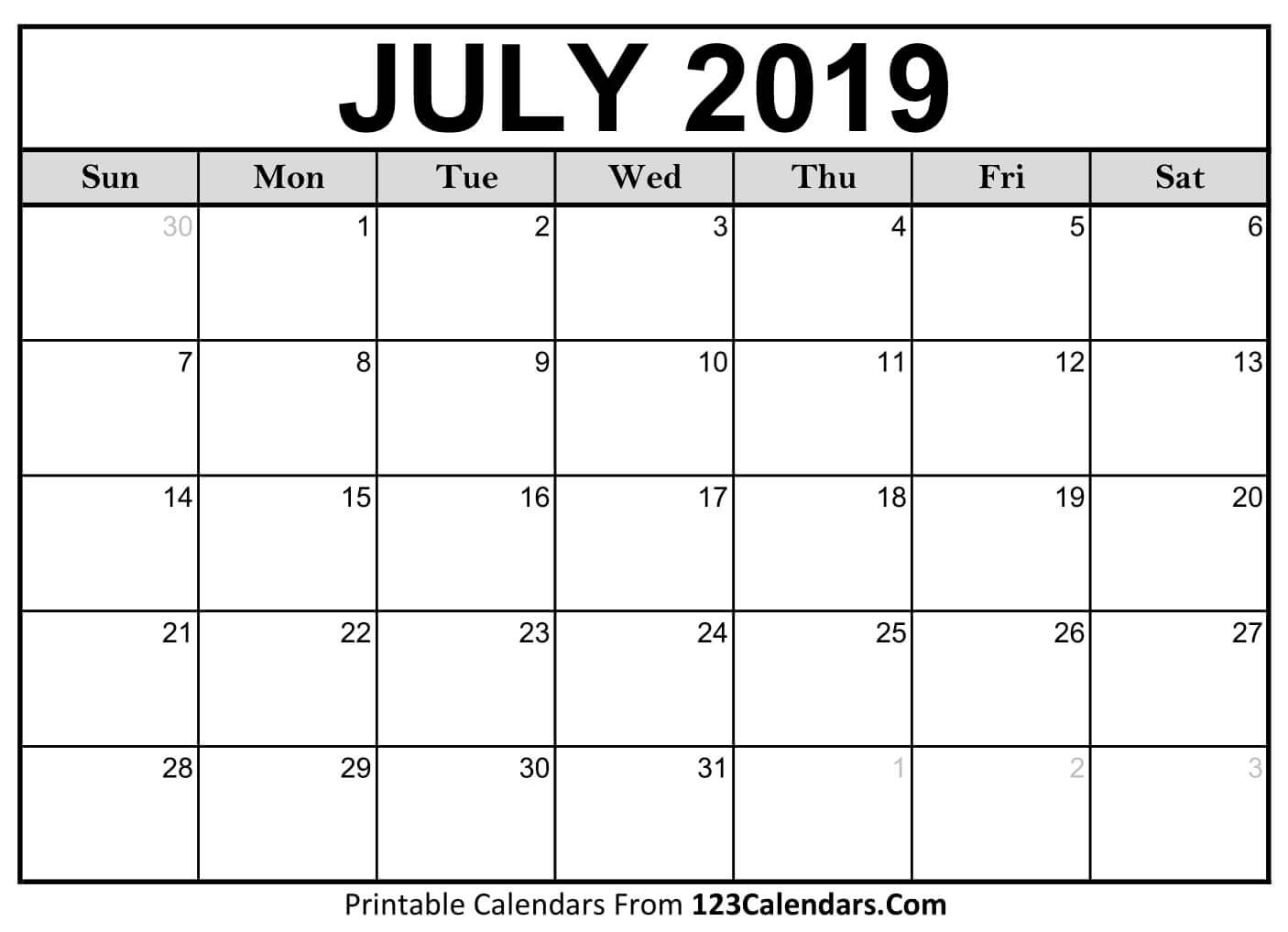 Printable Calendar July 2019