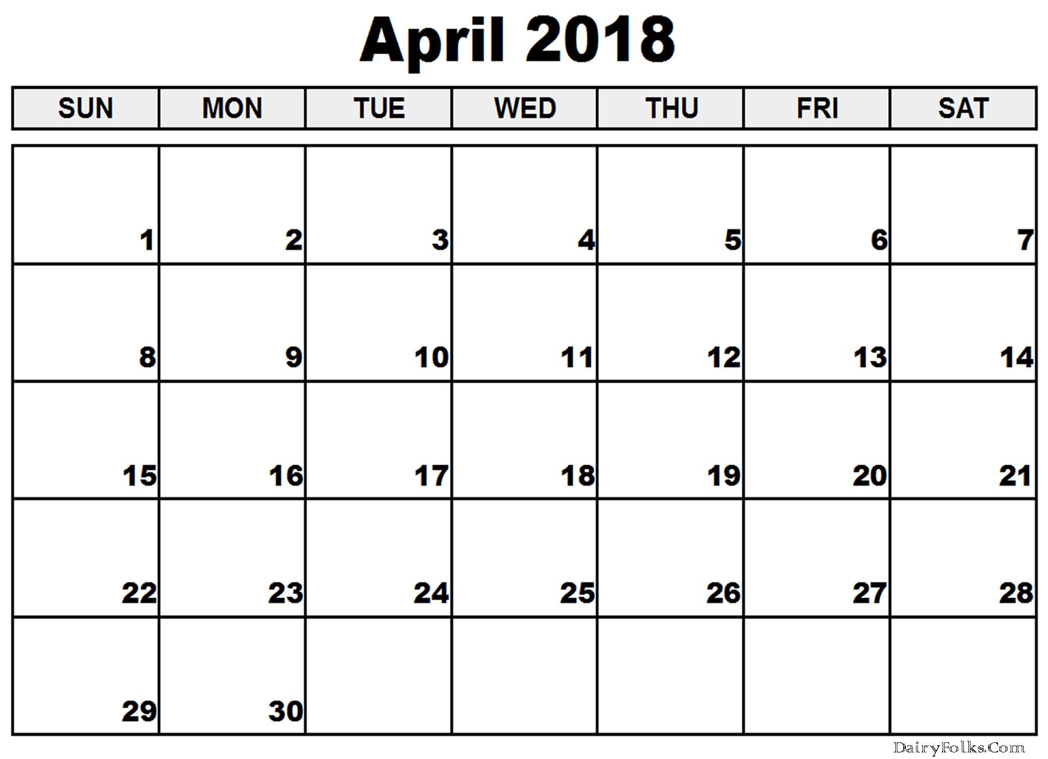 Printable Calendar Landscape April 2018 Calendar Portrait & Landscape Printable
