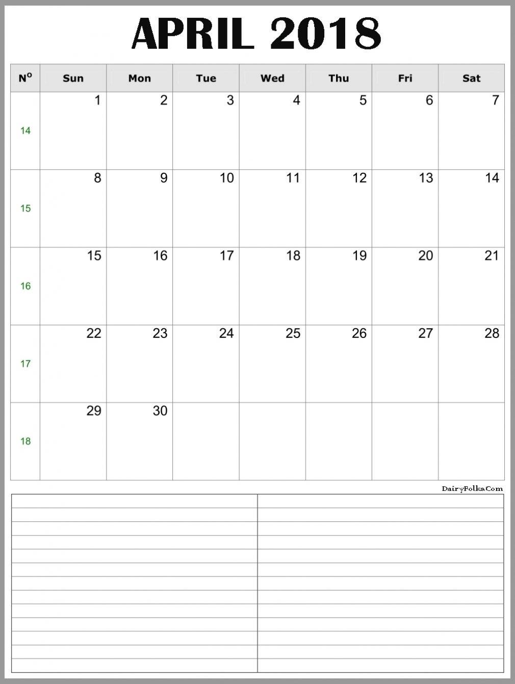 April 2018 Calendar Portrait & Landscape Printable