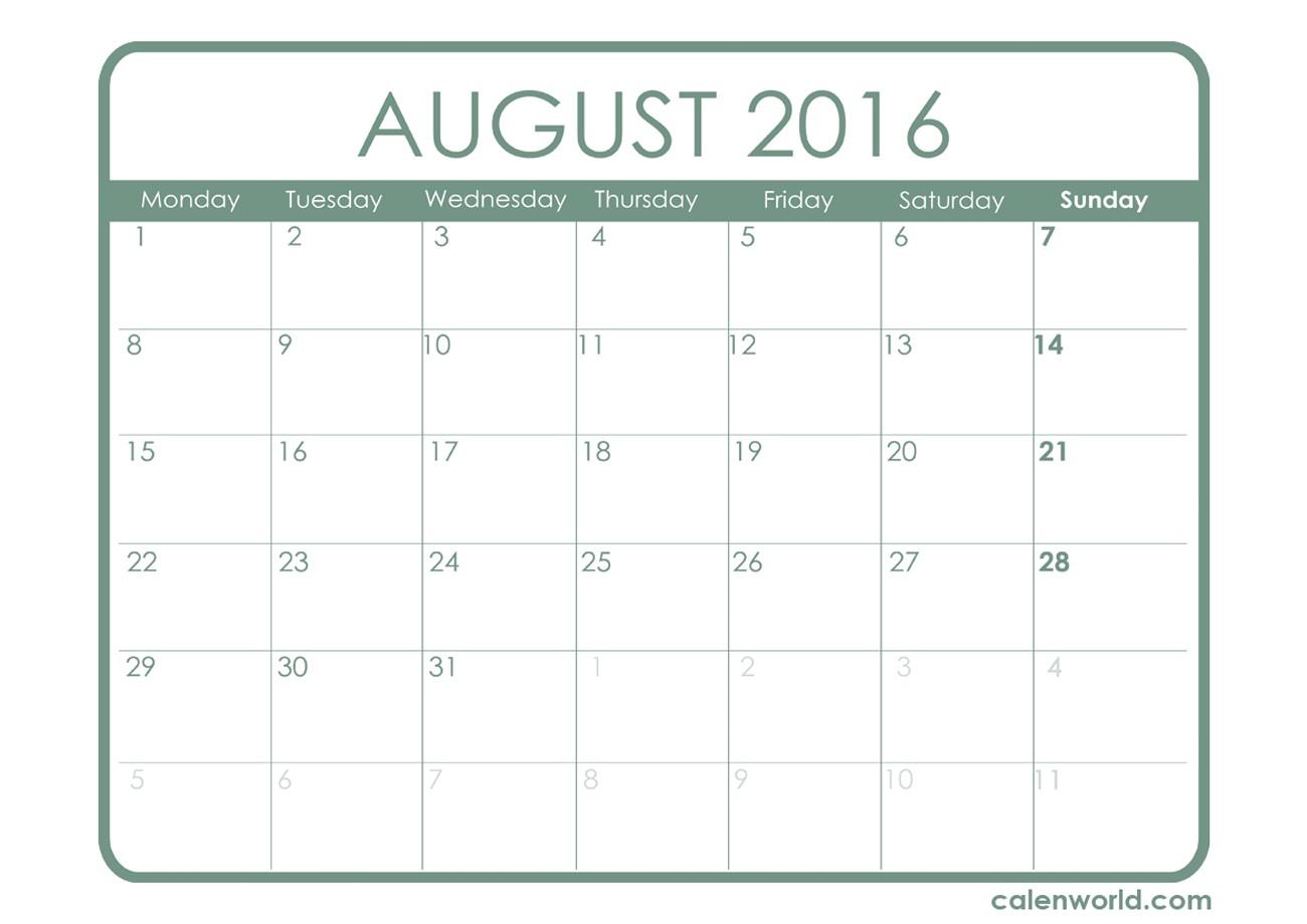 August 2016 Calendar Landscape – 2017 printable calendar