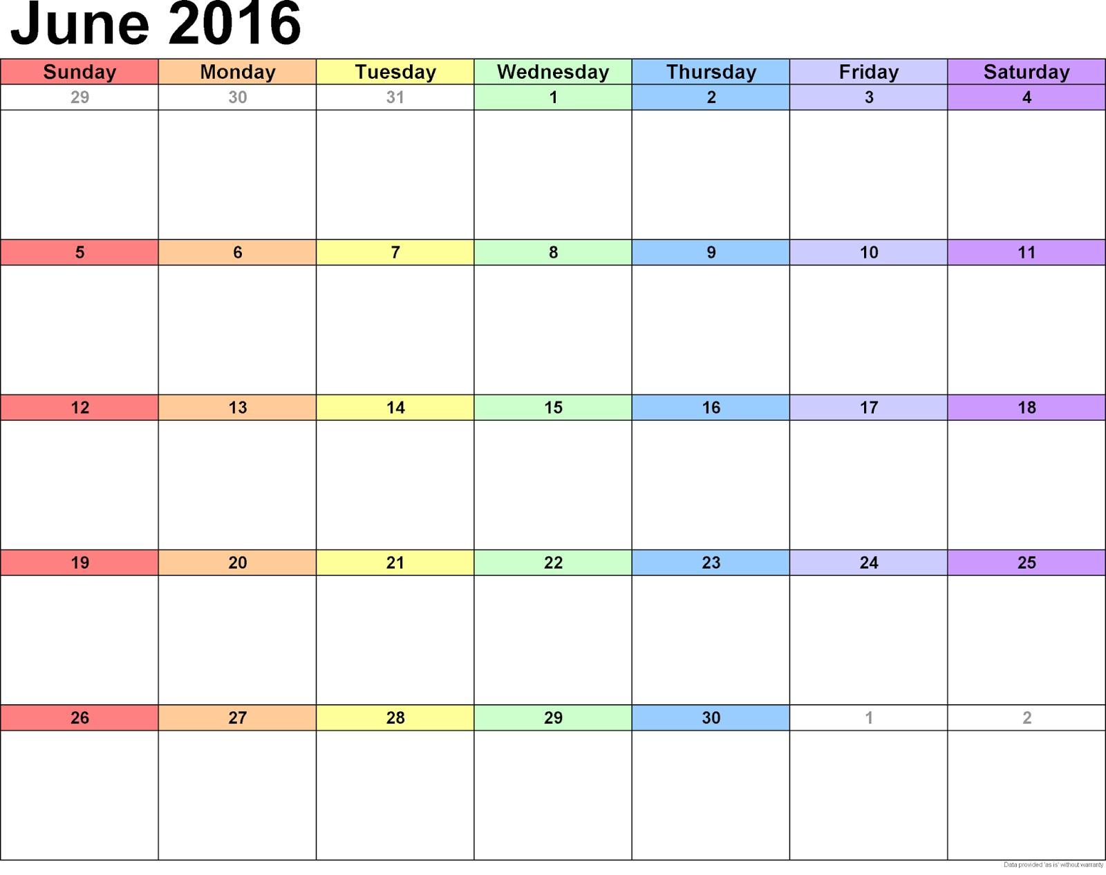 Printable Calendar Landscape February 2016