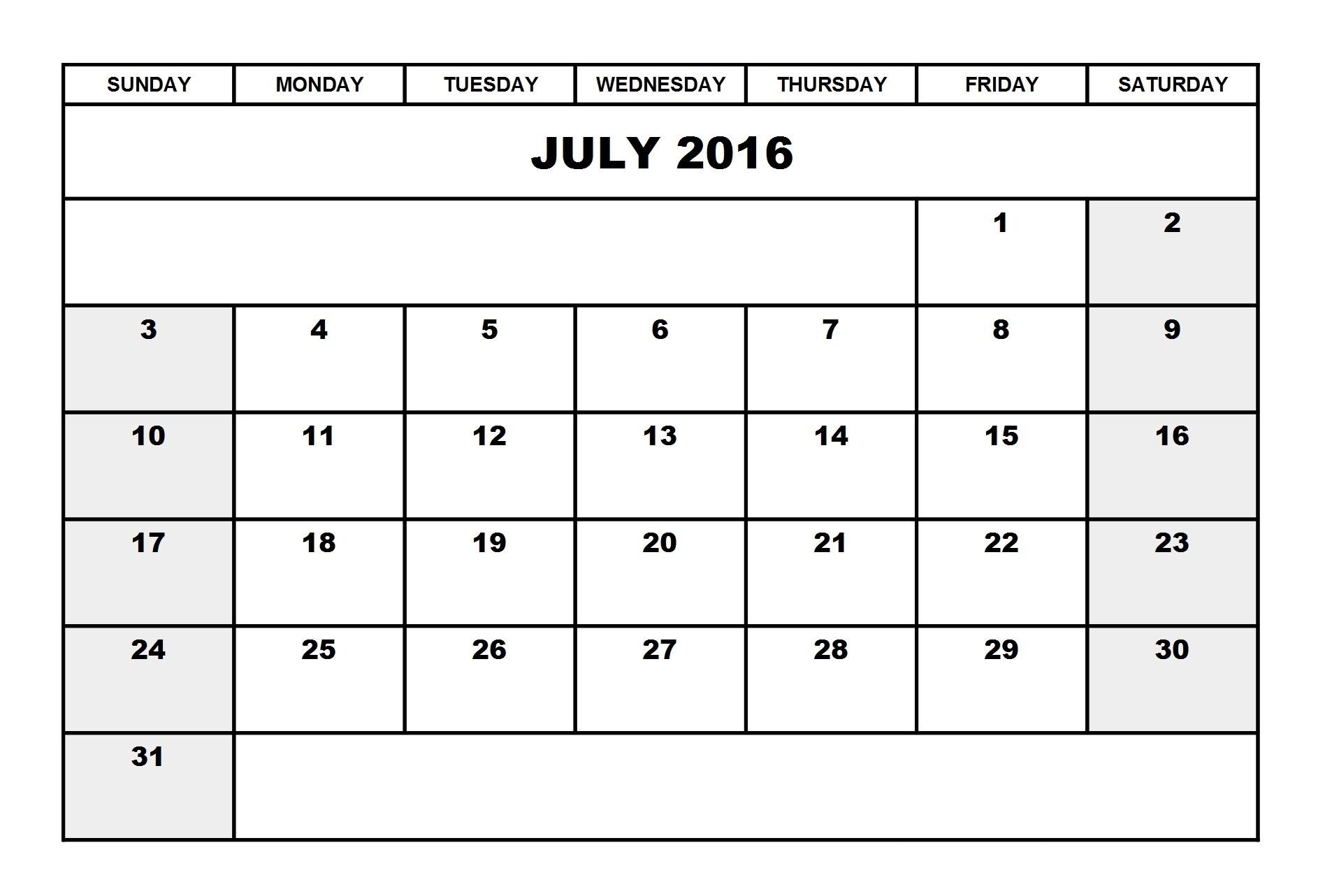 Printable Calendar Landscape July 2016 Calendar Landscape