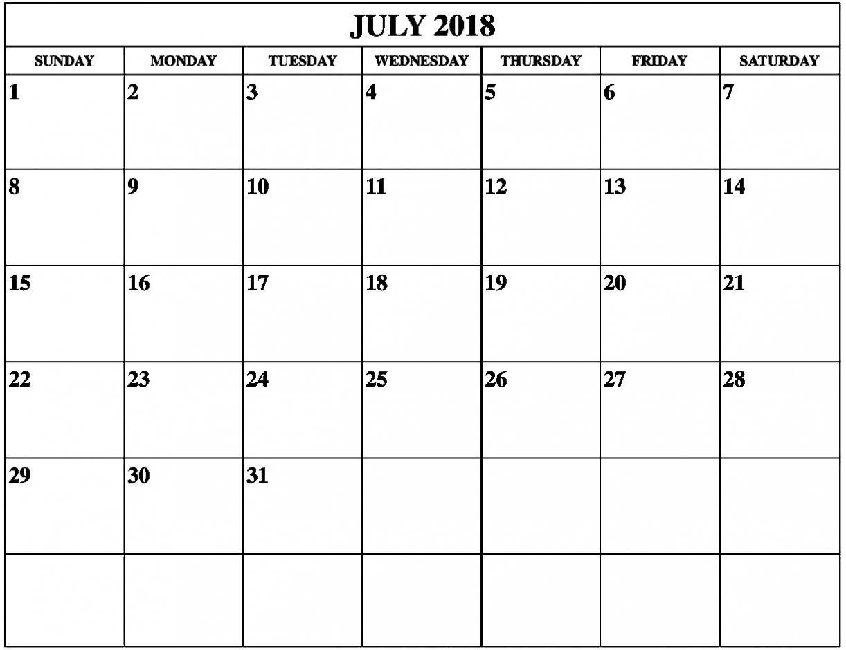 July 2018 Calendar Portrait Landscape Printable