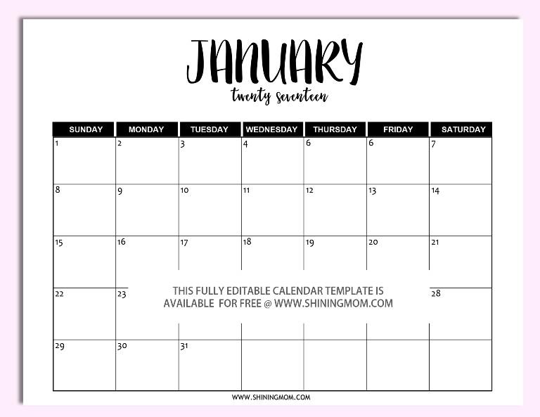 Printable Calendar Microsoft Word Free Printable Fully Editable 2017 Calendar Templates In