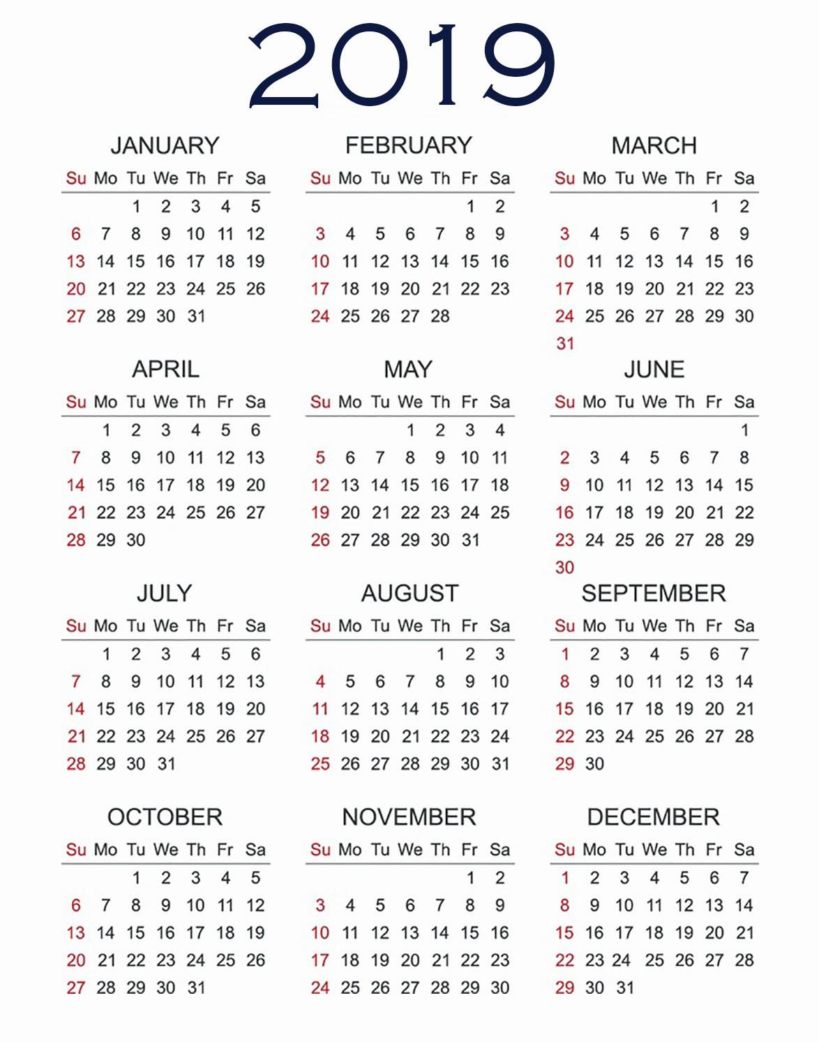 2019 Printable Calendar e Page 2019 Calendar Printable