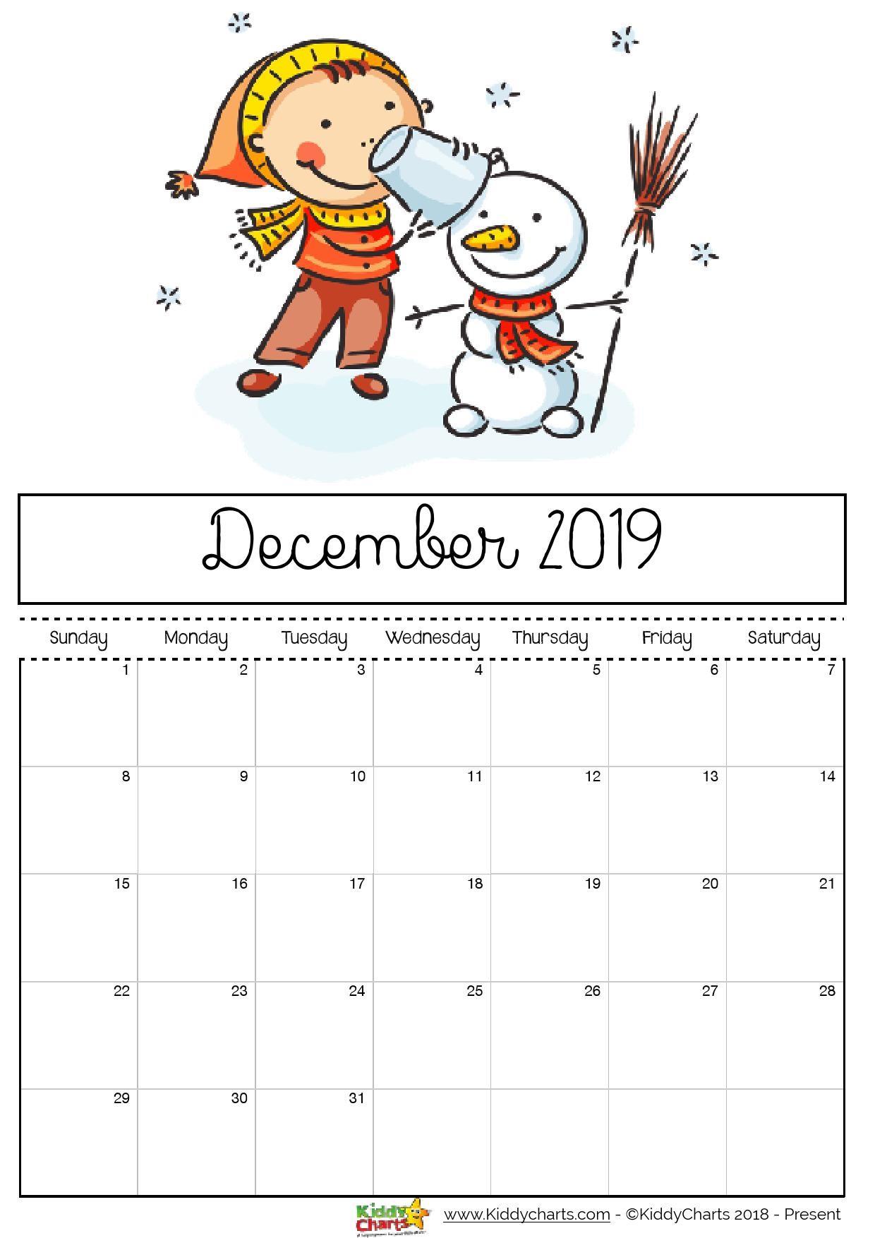 Printable Calendar Pages 2019 Free Printable 2019 Calendar for Kids