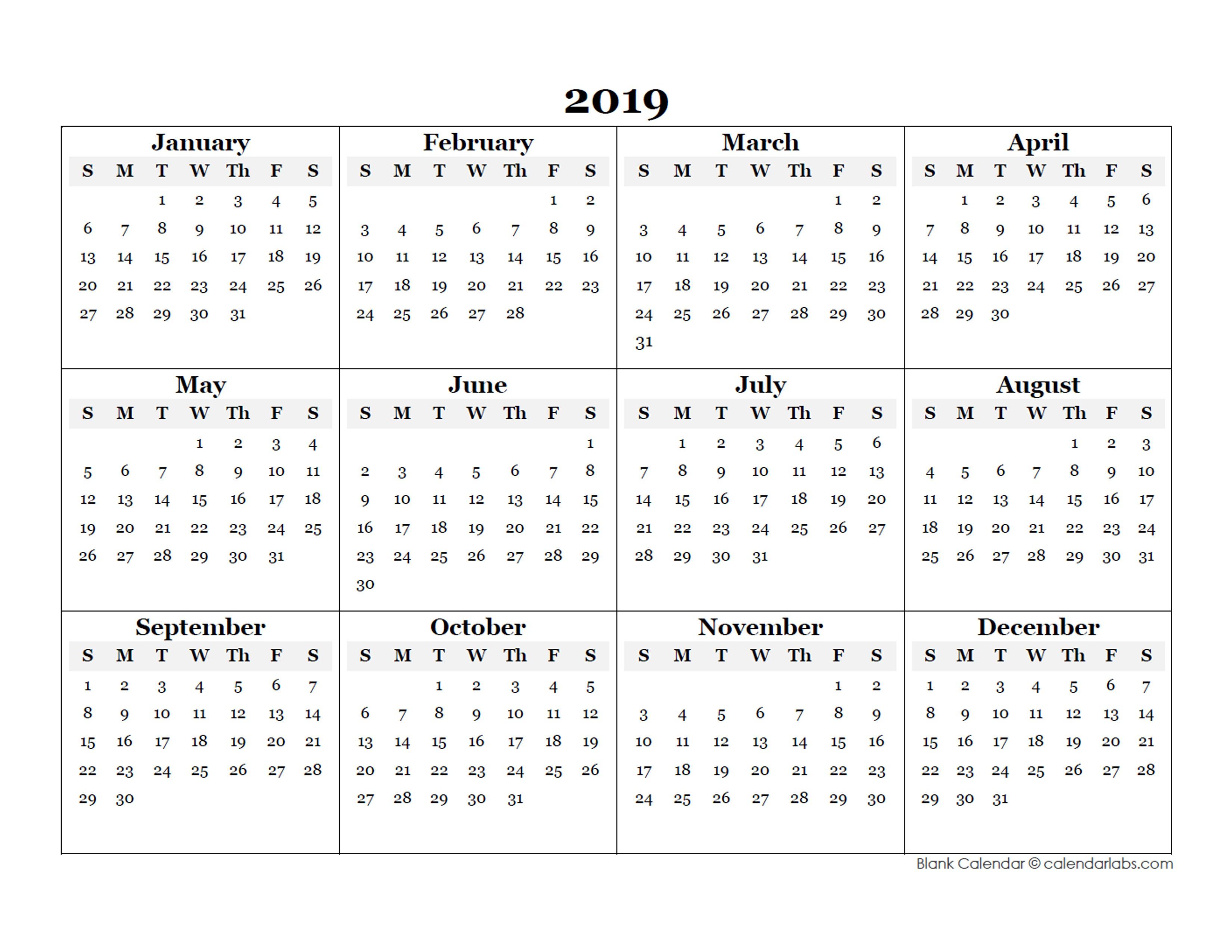 Printable Calendar Templates 2019 2019 Blank Yearly Calendar Template Free Printable Templates