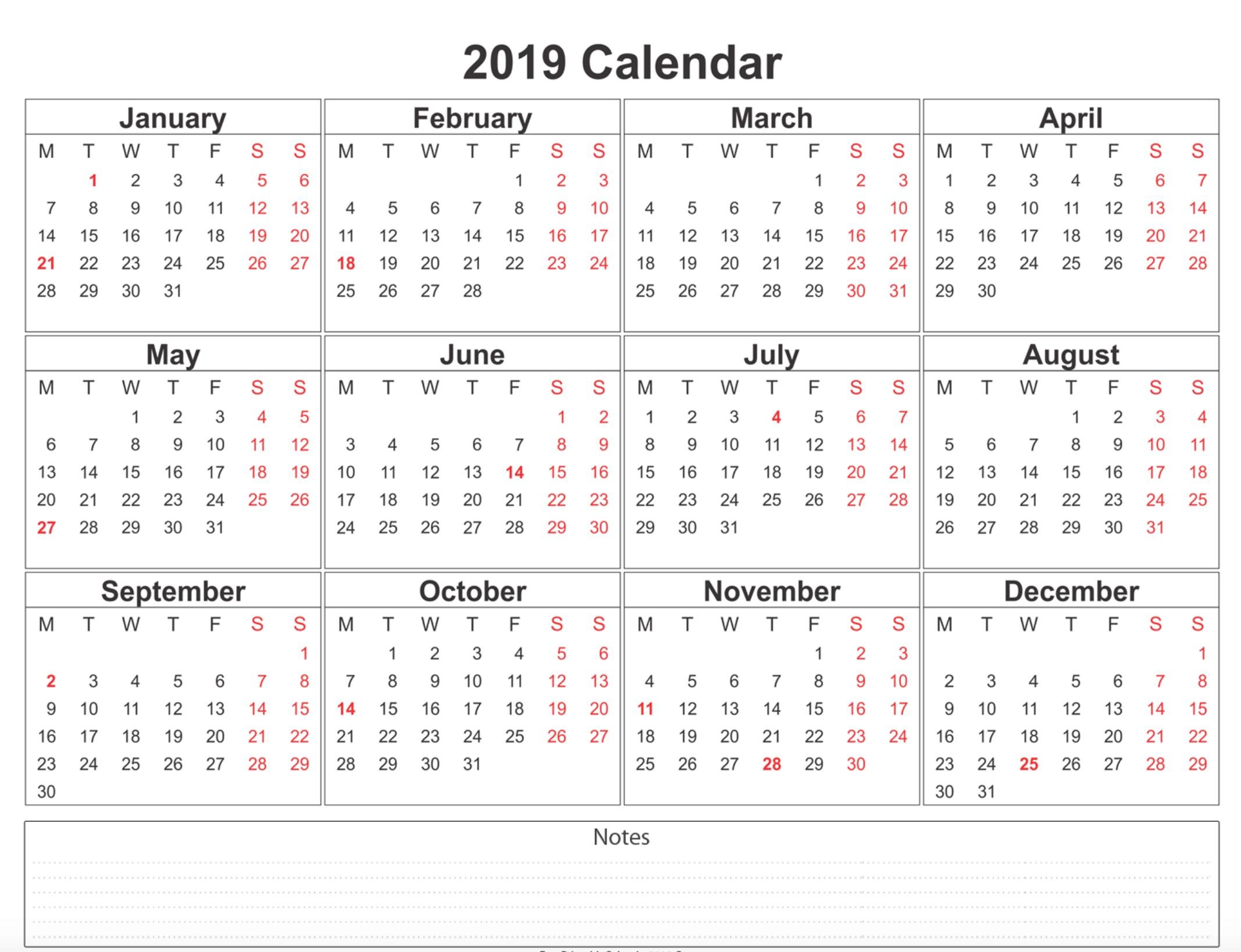 Printable Calendar Templates 2019