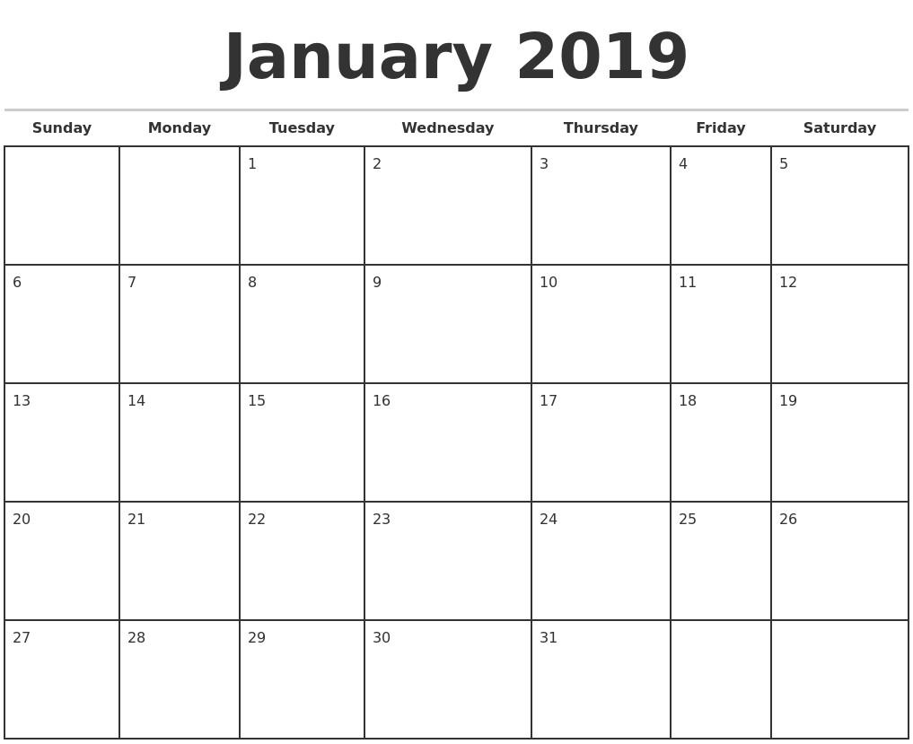 Printable Calendar Templates 2019 2019 Monthly Calendar Template