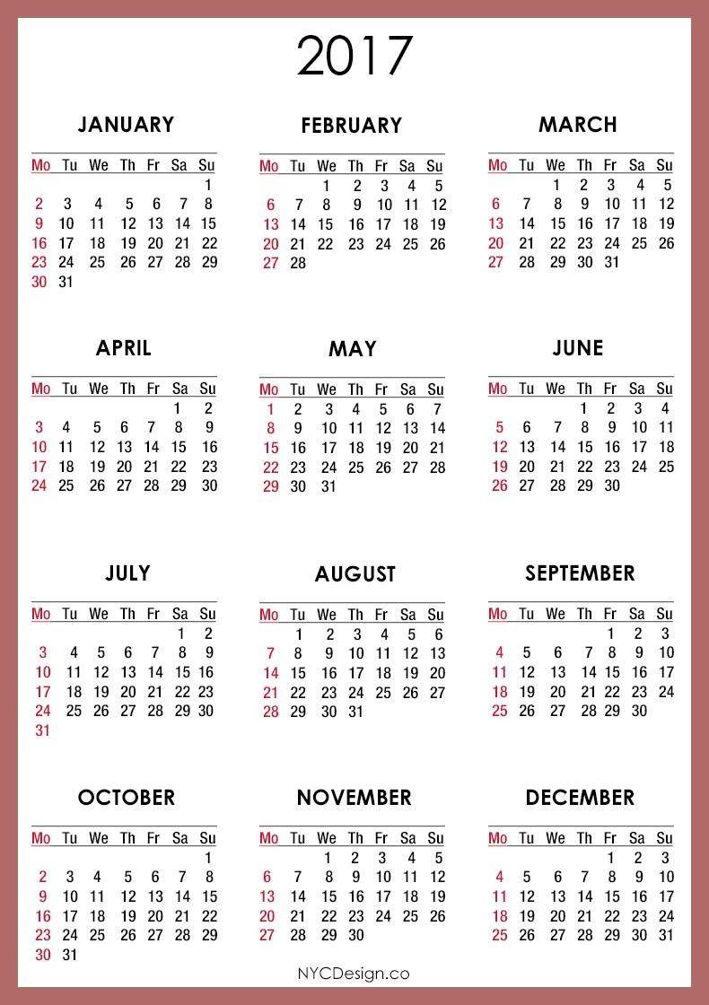 Printable Calendar with Pictures 2017 Calendar Printable