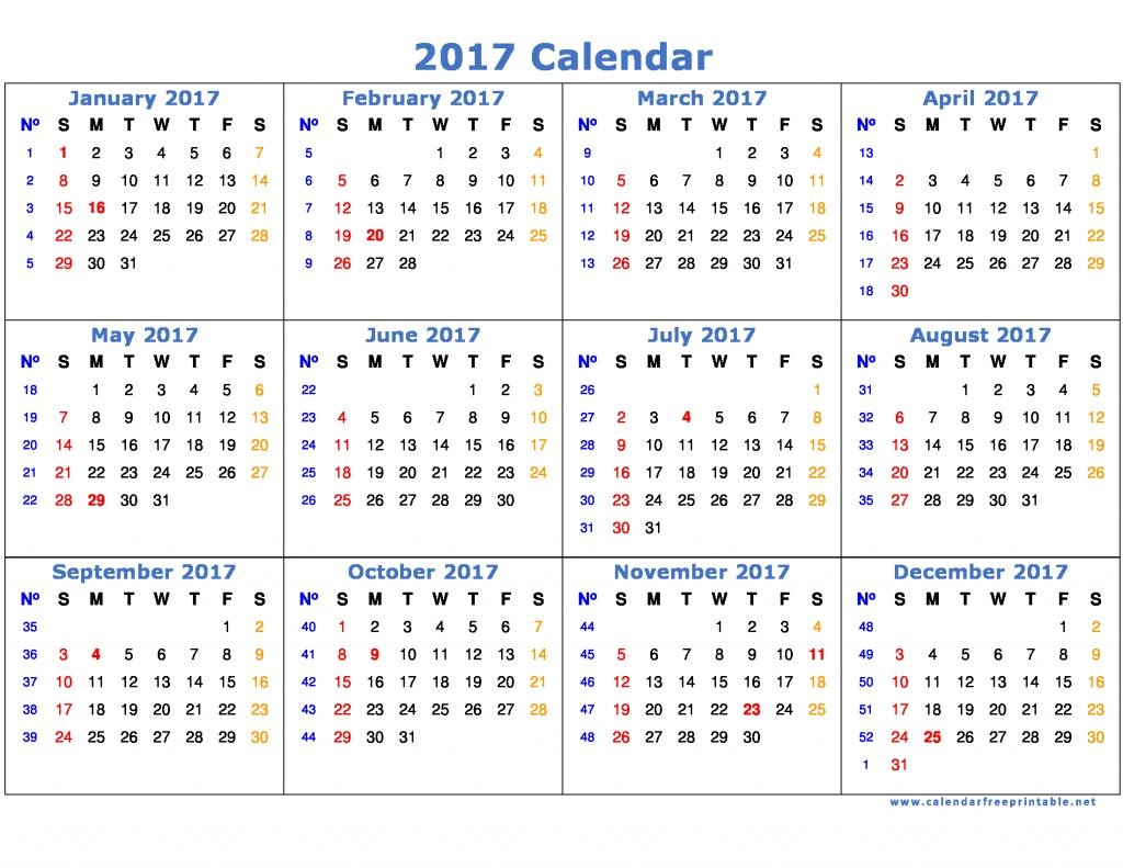 2017 calendar printable with holidays