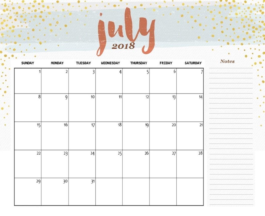 July 2018 Printable Calendar Word Excel PDF Pages