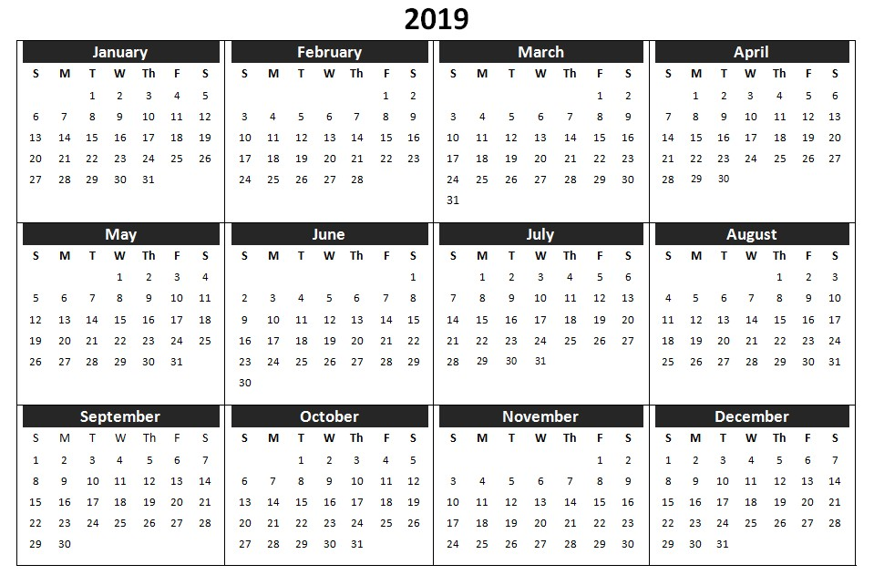 Printable Calendar Year 2019 2019 Calendar Printable Templates Word Excel Wallpapers