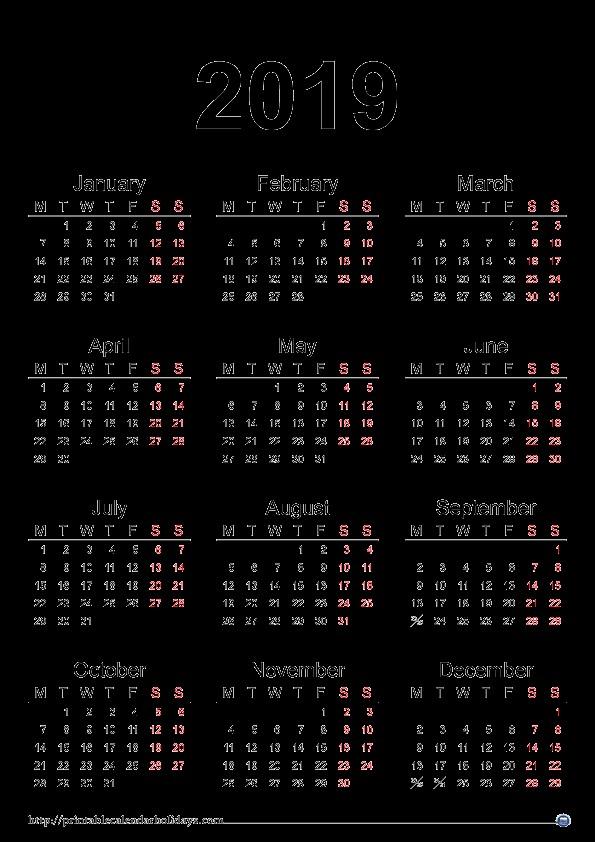 2019 Yearly Calendar Printable Printable 2017 2018 2019