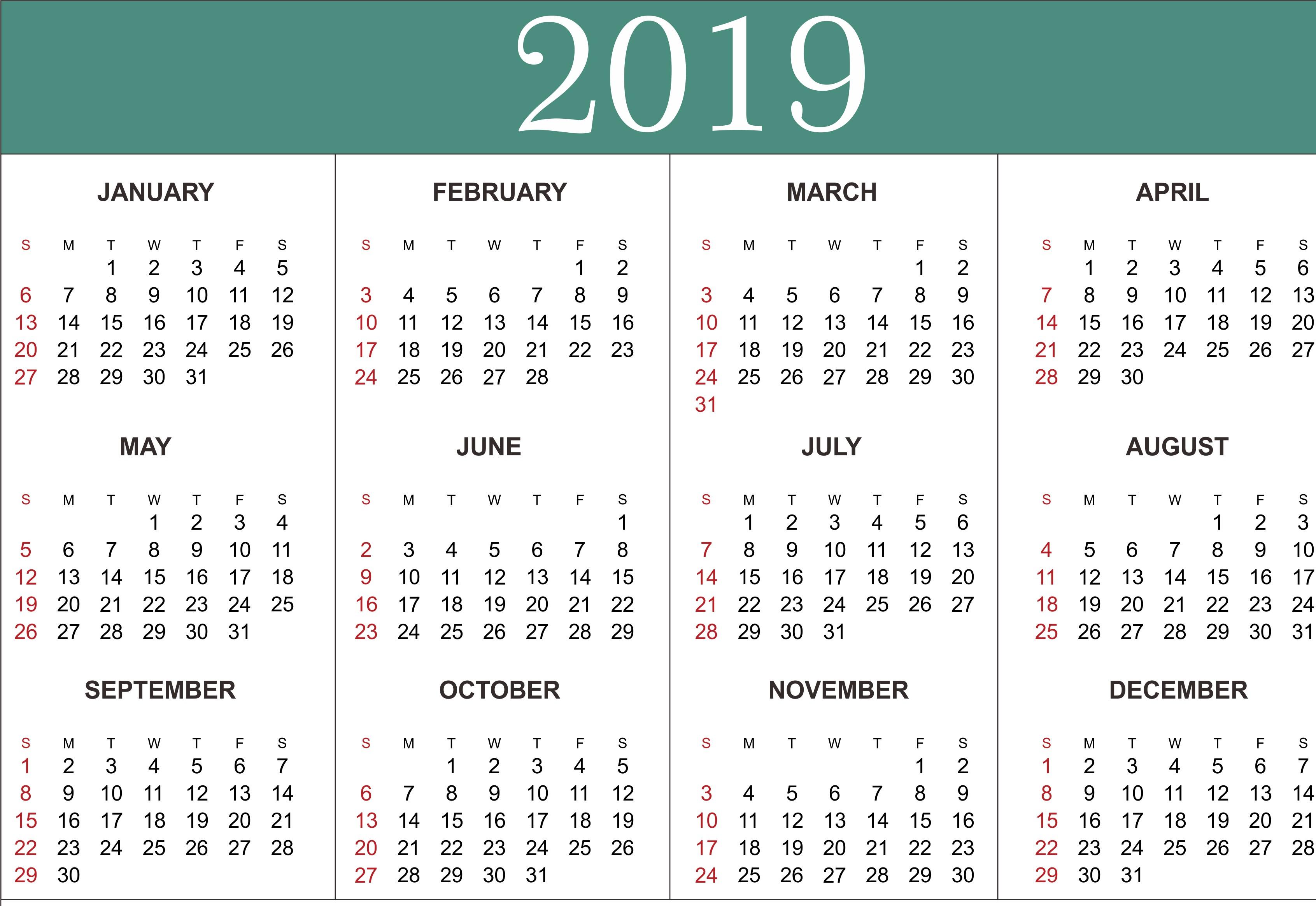 Free Yearly Calendar 2019 Printable Blank Templates