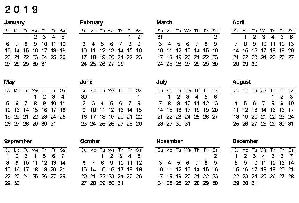 Printable Calendar Year 2019 Printable Calendar 2019 Yearly Calendar Download