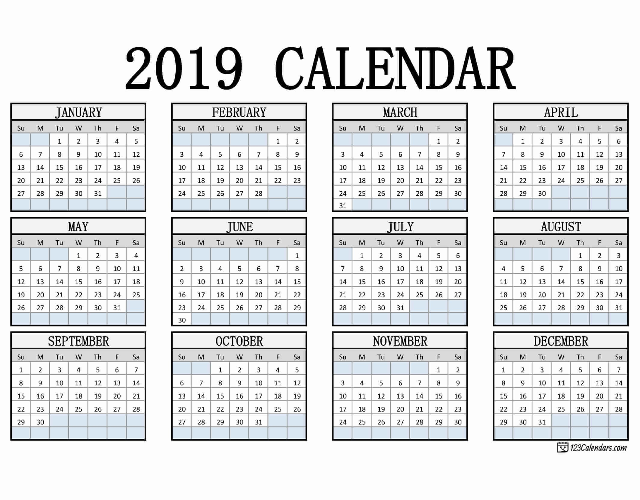 Printable Calendars 2019 2019 Printable Calendar 123calendars