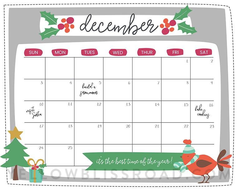Printable Christmas Calendars Free Printable Christmas Countdown Calendar for December