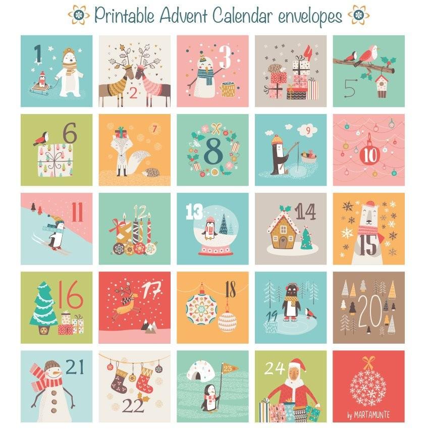 Printable Christmas Calendars Printable Advent Calendar 24 Mini Envelopes Christmas