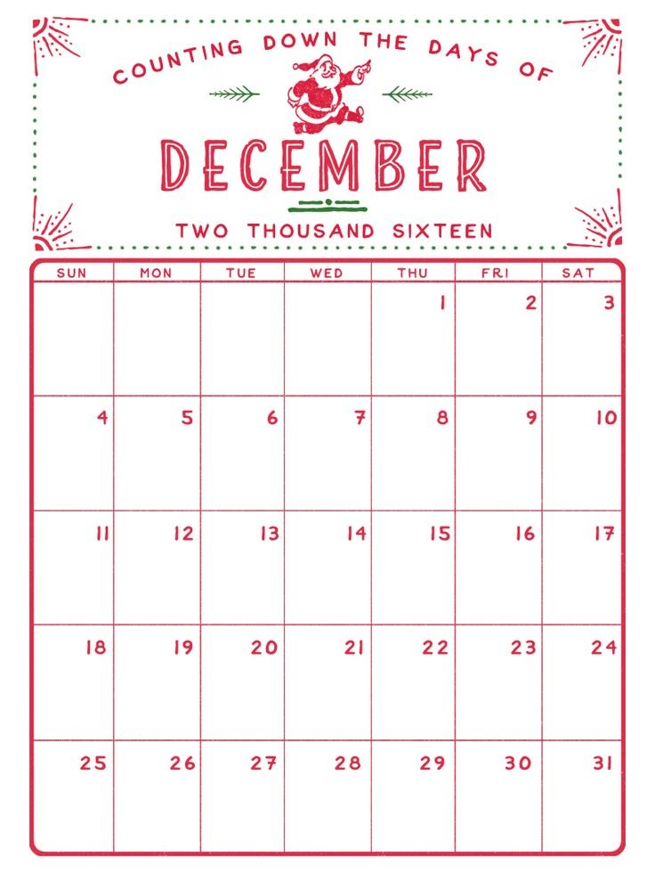 Printable Dec Calendar 1000 Ideas About December 2016 Calendar On Pinterest