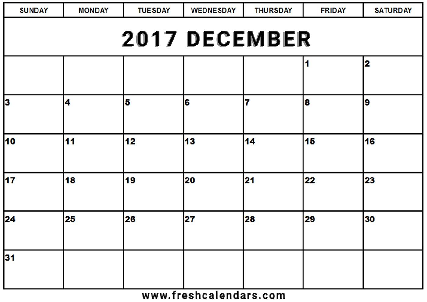 Blank December 2017 Calendar Printable Templates