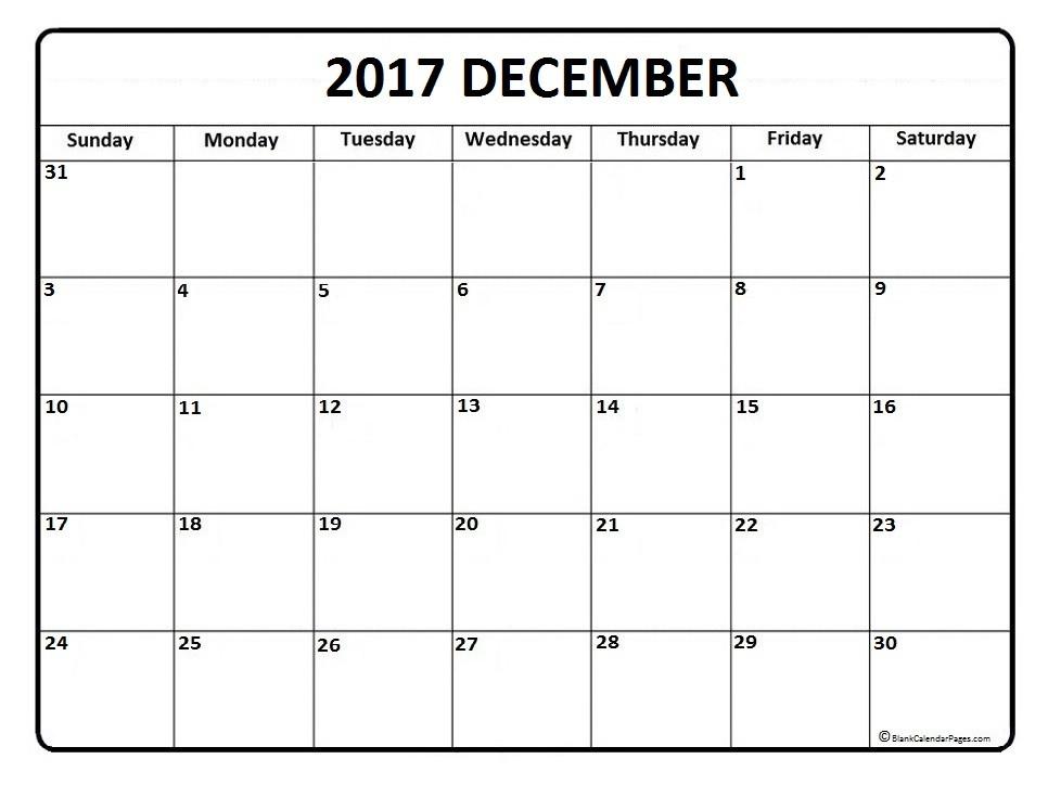 Printable Dec Calendar December 2017 Calendar