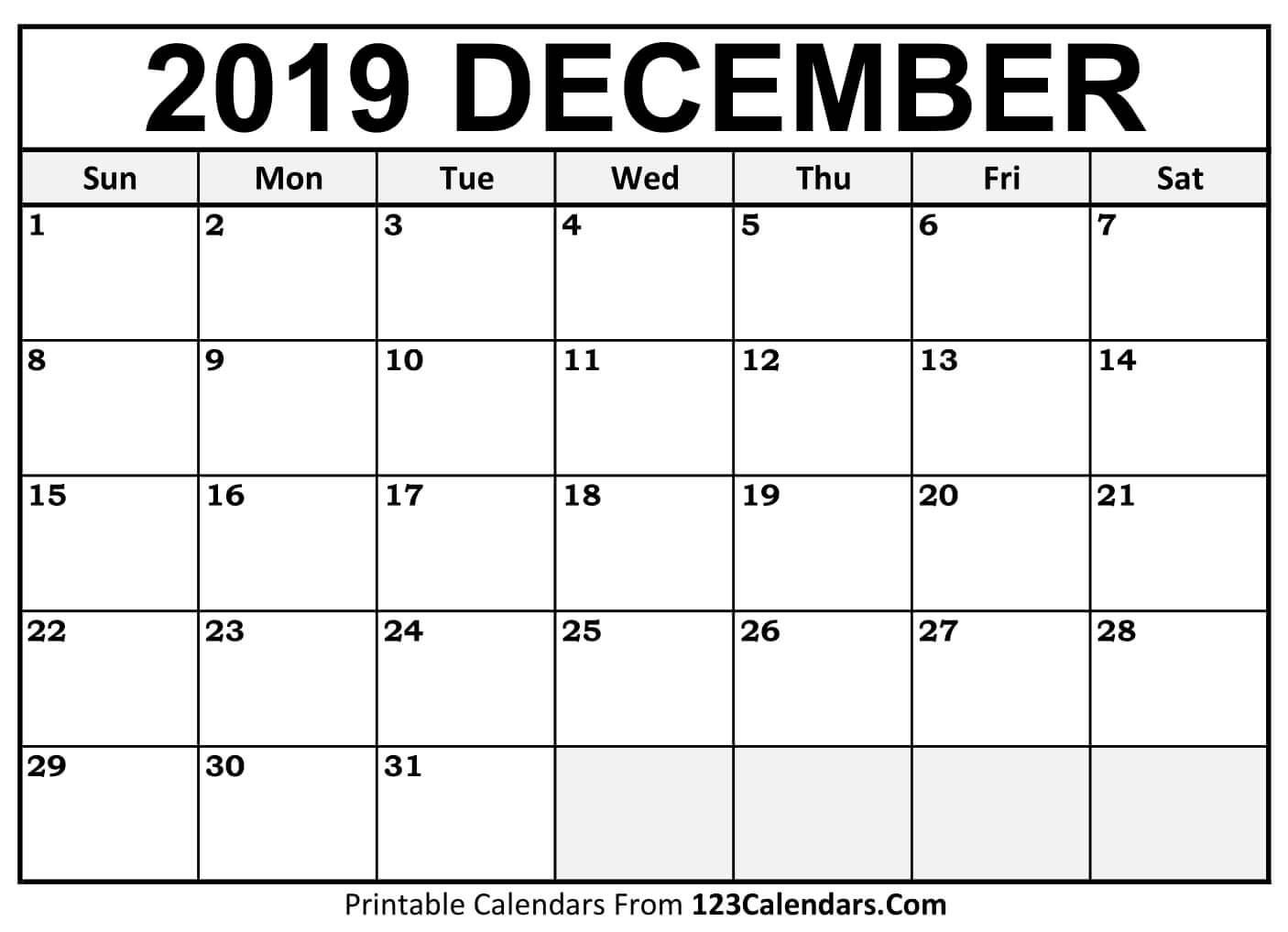 Printable December 2019 Calendar Templates 123Calendars