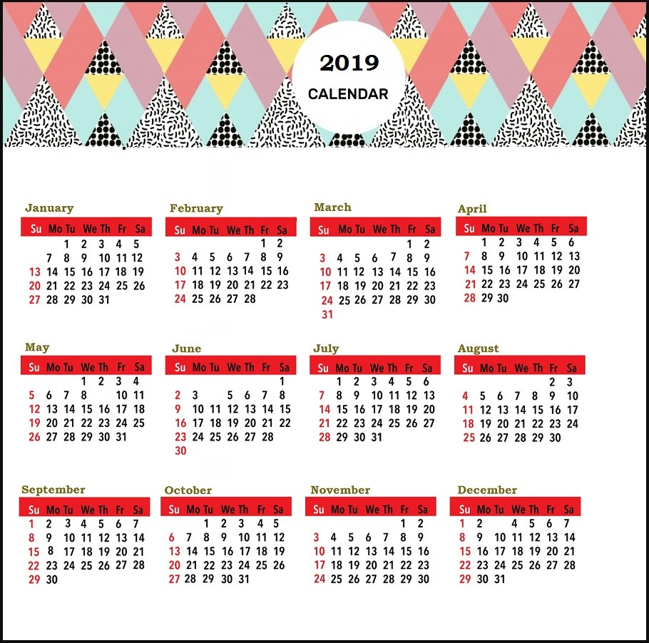 Printable Desk Calendar 2019