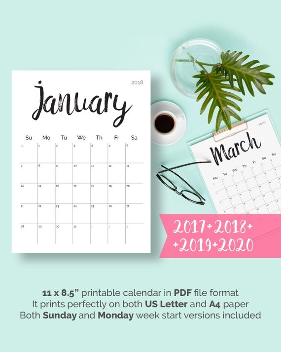 Printable Desk Calendar 2020