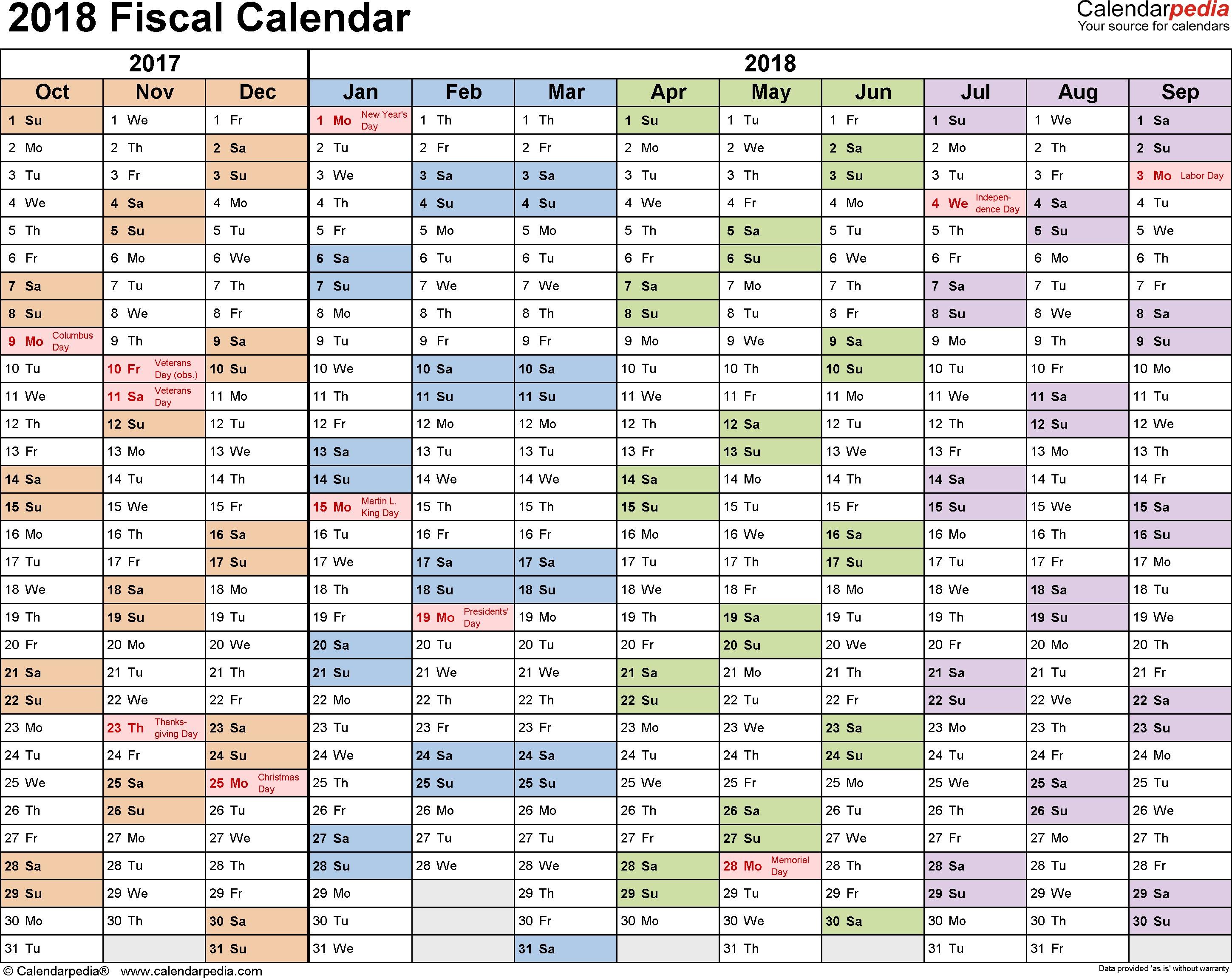 Printable Fiscal Calendar