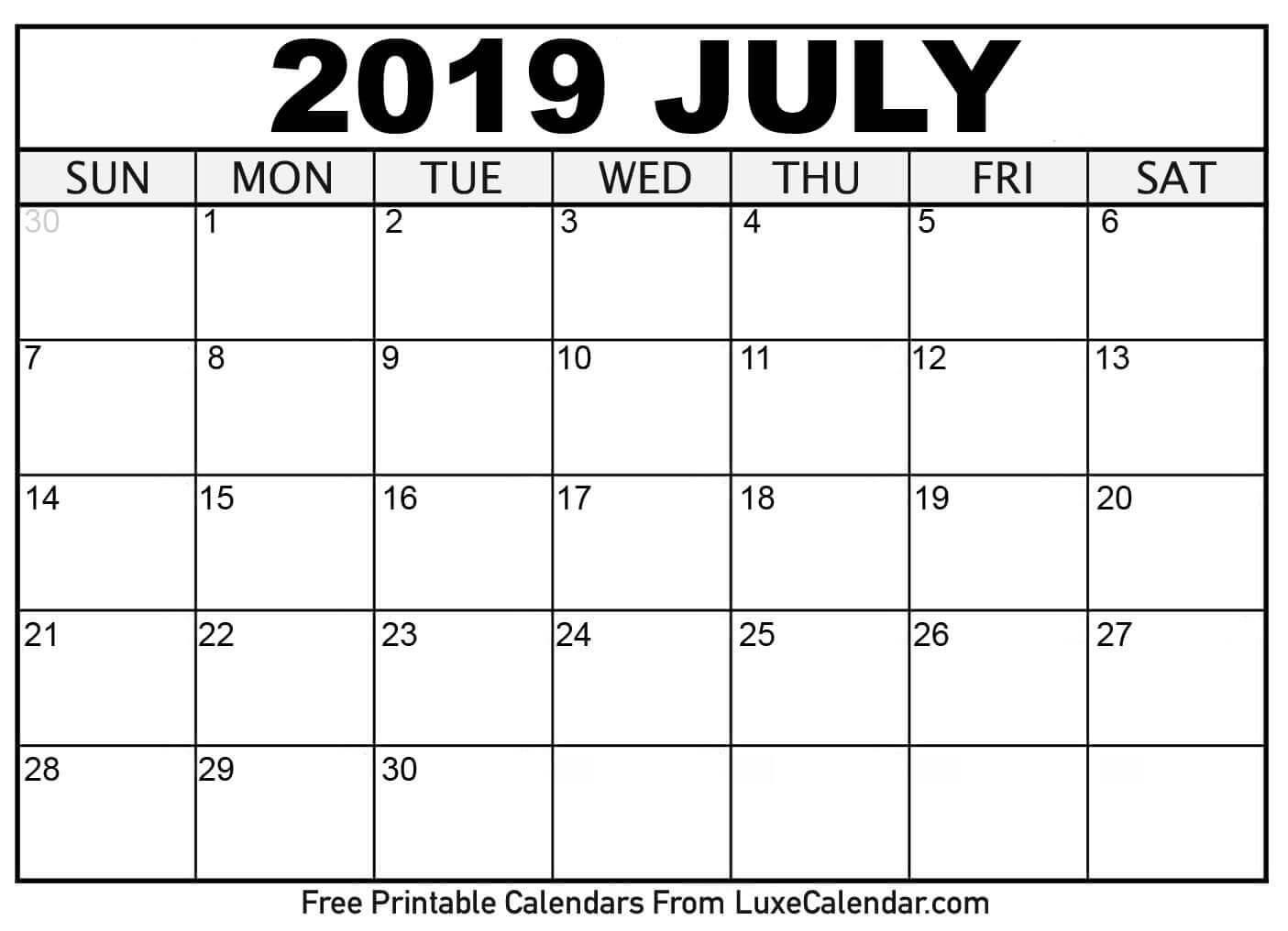 Blank July 2019 Printable Calendar Luxe Calendar