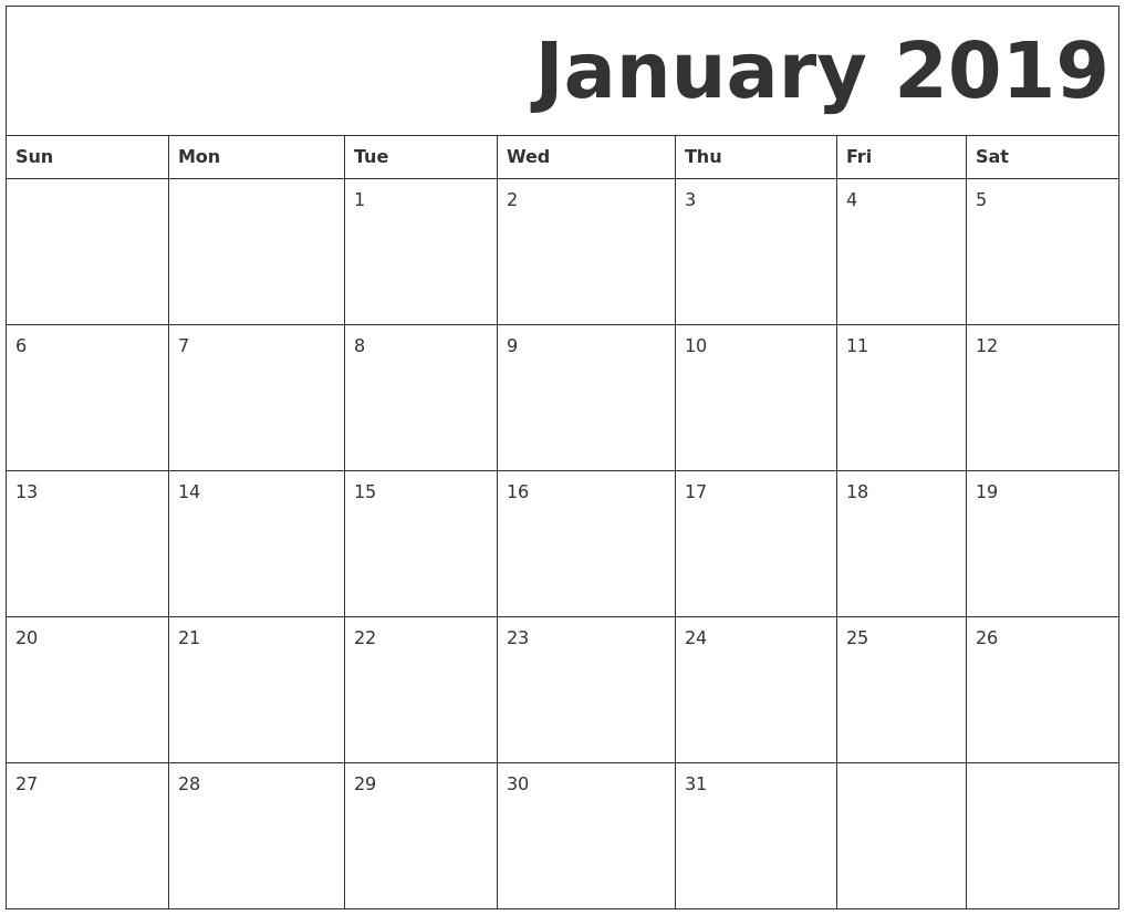 Printable Free 2019 Calendar January 2019 Printable Calendar – Month Printable Calendar