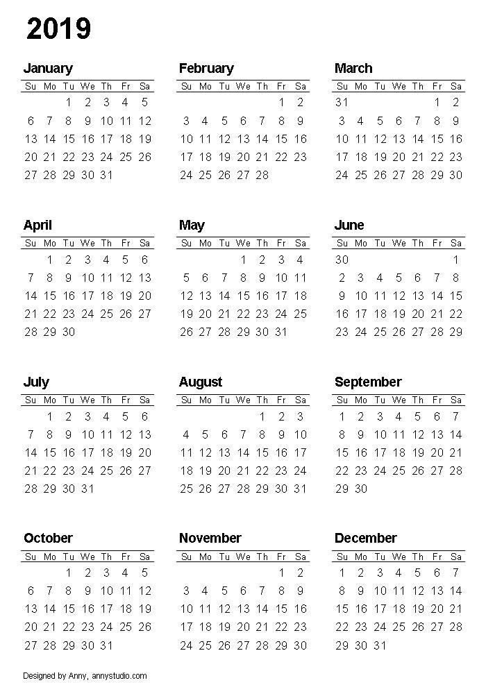 Printable Free 2019 Calendar Printable Calendar 2019