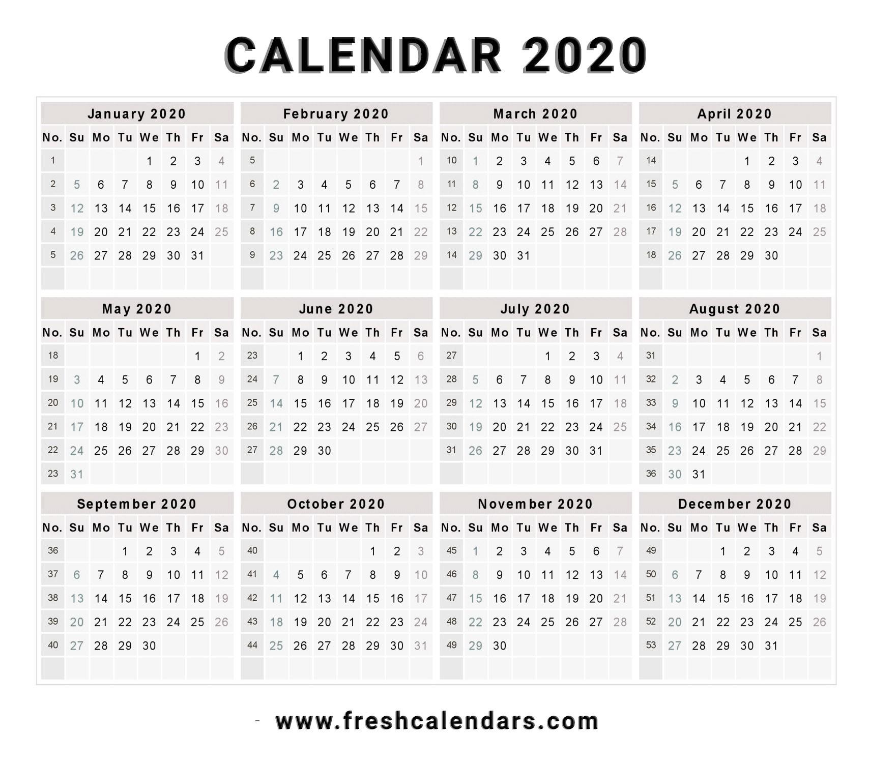 Printable Free 2020 Calendar