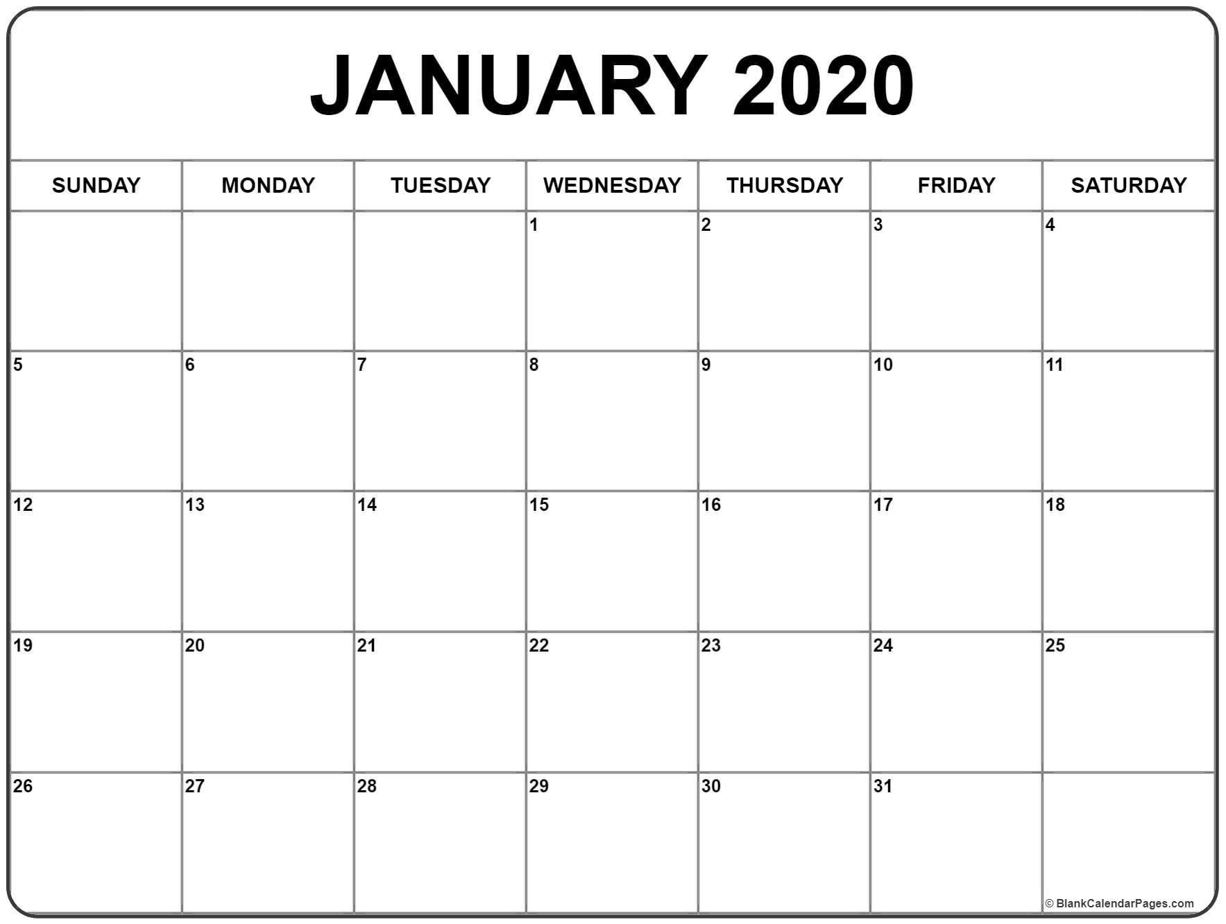Printable Free 2020 Calendar January 2020 Calendar