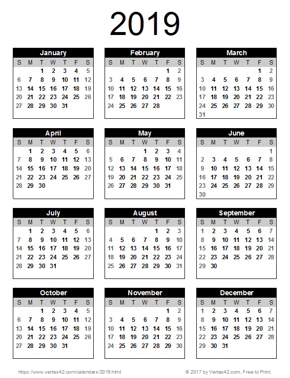 Printable Full Year Calendar 2019 Calendar Templates and