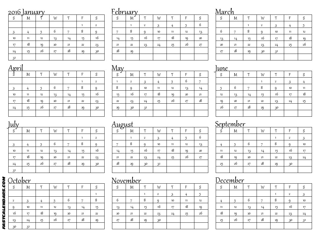 Printable Full Year Calendar Blank 2016 Full Year Calendar
