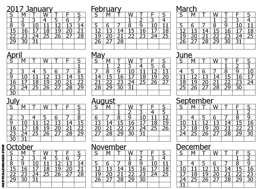 Blank 2017 Full Year Calendar
