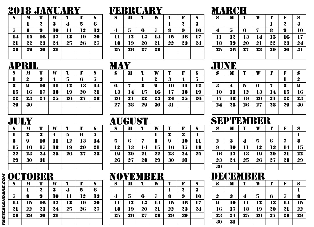 Printable Full Year Calendar