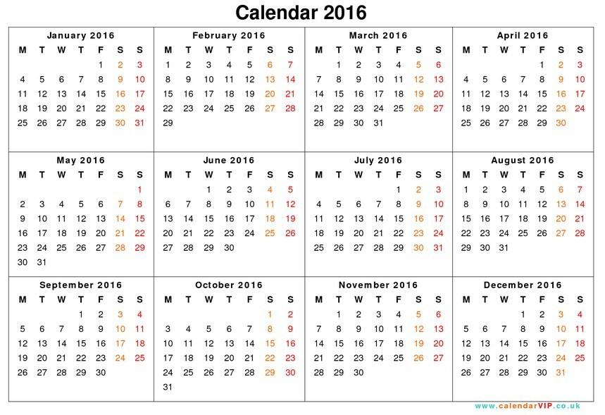 Printable Full Year Calendar Printable Full Year Calendar 2016 – Calendar Template 2019