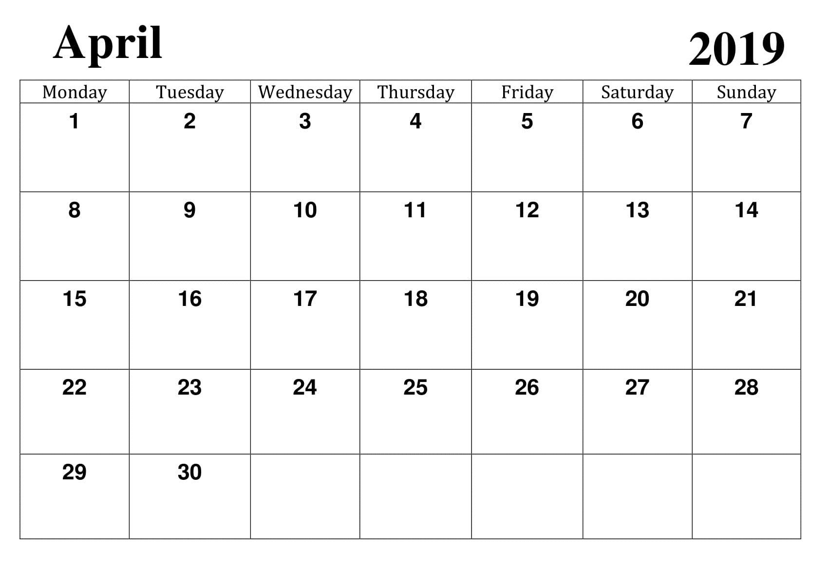 Printable Google Calendar Printable April 2019 Google Calendar Template