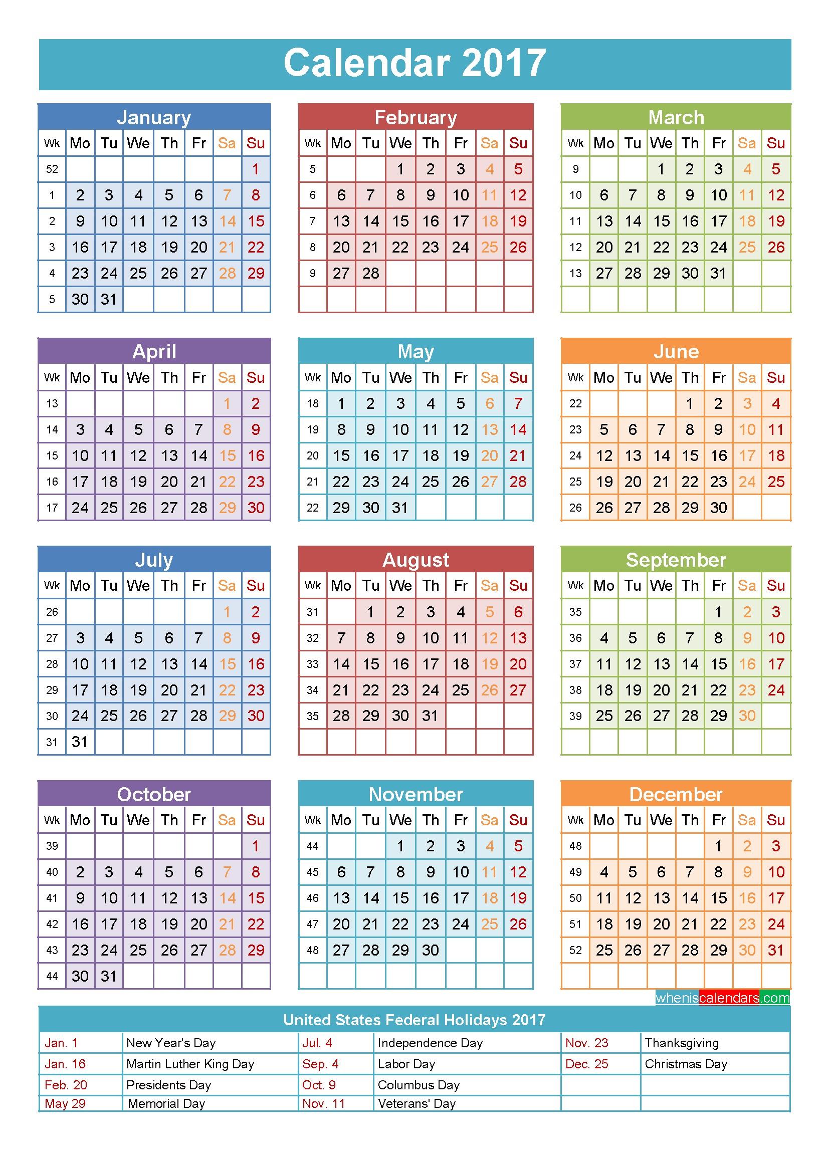 2017 Calendar with Holidays Printable Yearly Calendar