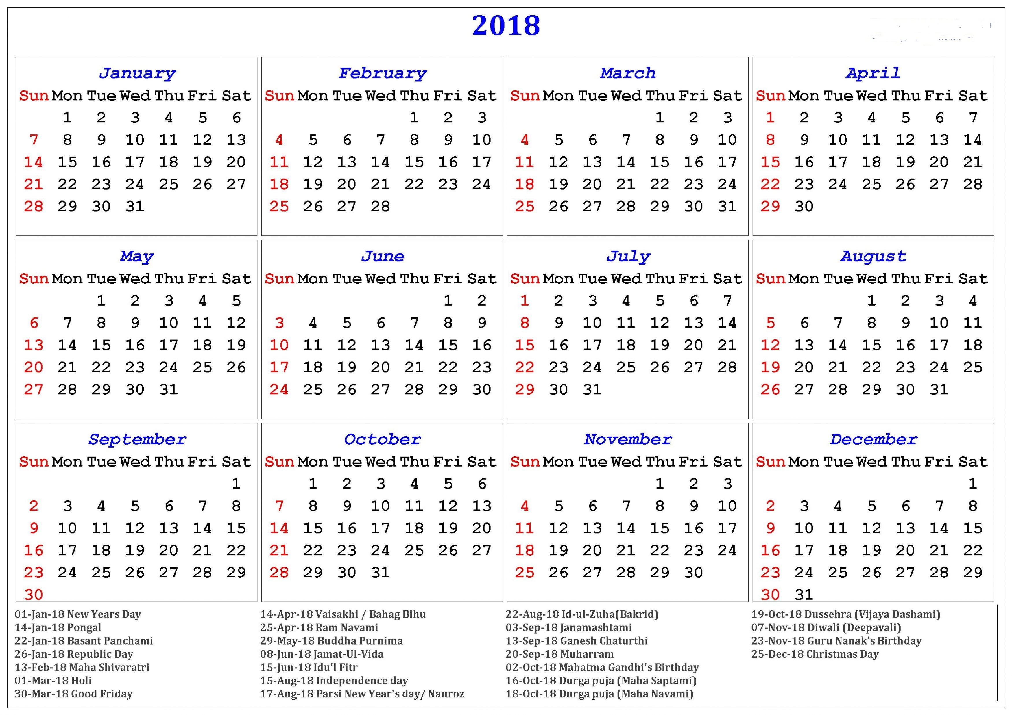 Printable Holiday Calendar 2018 Calendar with Holidays