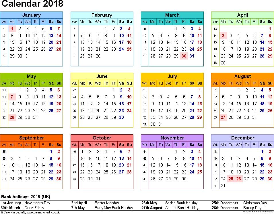 Printable Holiday Calendar 2018 Holiday Calendar Usa & Uk